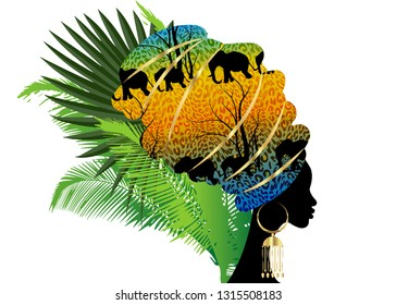 Portrait beautiful silhouette African woman in traditional turban. Kente head wrap Afro, Traditional dashiki printing Batik style tiger pattern with cute animal Elephants. Vector isolated with palms