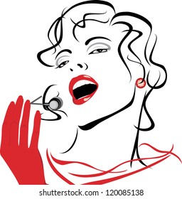 Portrait of a beautiful singing woman. Vector