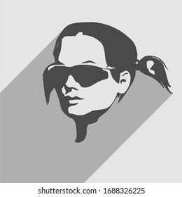 Portrait of beautiful woman in black sunglasses. Pigtails hair style. Half turn view. Web icon with long shadow