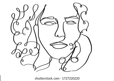 Portrait of a beautiful  woman with curly hair. Continuous line drawing.
