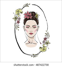 Portrait of beautiful woman with flowers in her hair. Romantic girl in flower frame. Vector
