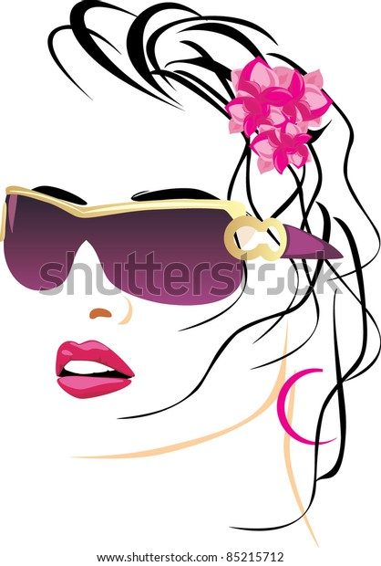 portrait-beautiful-woman-glasses-vector-