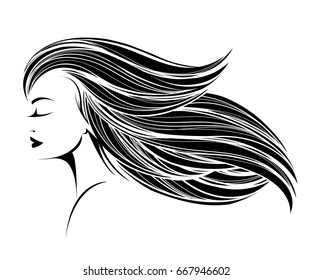 Portrait of a beautiful woman with long, straight hair flowing in the wind, closed eyes and nice makeup.Vector icon isolated on white background.