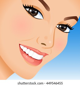 Portrait of  beautiful woman on blue background. Vector illustration.