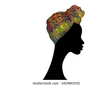 portrait beautiful woman. Shenbolen Ankara Headwrap Women African Traditional Headtie Scarf Turban. Colorful Kente head wraps African fabric design. Vector icon logo isolated white background