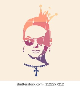 Portrait of beautiful woman in sunglasses and crown. Short hair. Front view. Necklace with cross. Silhouette textured by lines and dots pattern