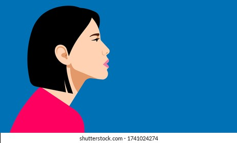 Portrait of beautiful young asian woman. Profile of a girl with a focused and calm facial expression. Female teenager, student or young specialist. Vector illustration with copy space.