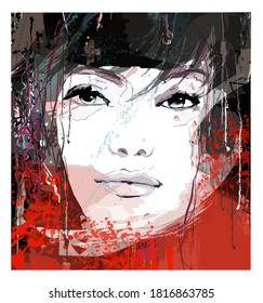 Portrait of a beautiful  young sexy woman over grunge background - vector illustration