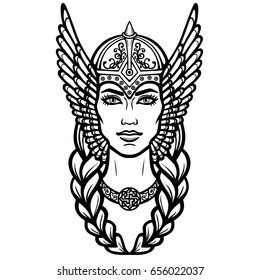 Portrait of the beautiful young woman Valkyrie. Pagan goddess, mythical character. Linear black the white drawing. Vector illustration isolated on a white background.