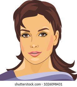 Portrait of a beautiful young woman. Vector