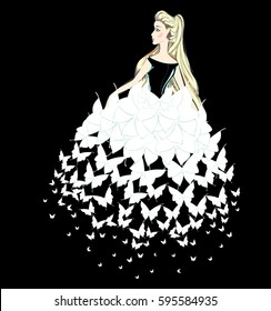 Portrait of a Beauty Blonde Lady in a Evening Gown of White Butterflies. Beautiful Woman in a Fantasy Dress of Butterfly's Wings. Fashion Illustration. Free Hand Vector Sketch. Freehand Drawing.