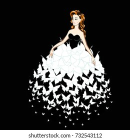 Portrait of a Beauty Redhead Lady in a Evening Gown of White Butterflies. Beautiful Woman in a Fantasy Dress of Butterfly's Wings. Fashion Illustration. Free Hand Vector Sketch. Freehand Drawing.