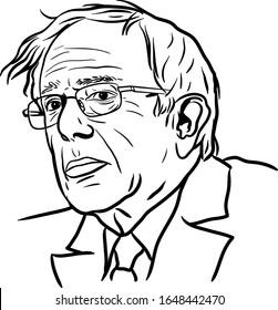 Portrait of Bernie Sanders during election, USA, 2020 Vector Illustration