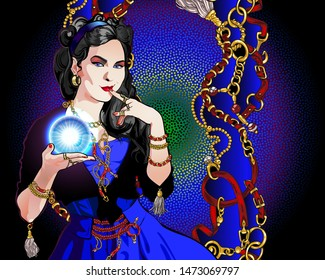 Portrait of a black-haired fortuneteller fortuneteller with a magic crystal ball in her hand. On a woman a vintage suit, abstract background with chains, belts and rings.
