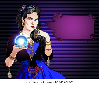 Portrait of a black-haired fortuneteller fortuneteller with a magic crystal ball in her hand. On a woman a vintage suit and chains, belts and rings.