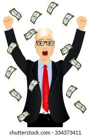 portrait of blond businessman with glasses surprised seeing raining money bills