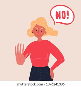 Portrait of blond woman expressing denial NO wtih her hand and in the speech bubble. Stop domestic violence and crime against females. No means no concept, stop here. Vector flat, banners and posters