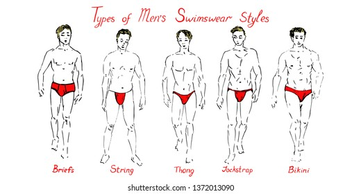 Portrait of blonde sexy guys in red briefs, strings, thong, jockstrap and bikini type of swimsuits collection with inscription, hand drawn doodle, sketch vector illustration