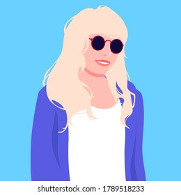 Portrait of blonde woman with long hair in sunglasses. Colorful vector illustration in flat cartoon style.