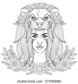 Lion Head Coloring Page Images Stock Photos Vectors