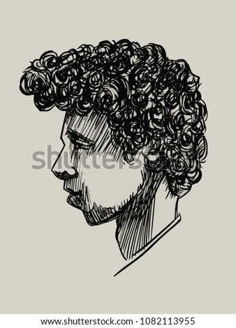 Portrait Boy Curly Hair Profilehand Drawn Stock Vector Royalty Free