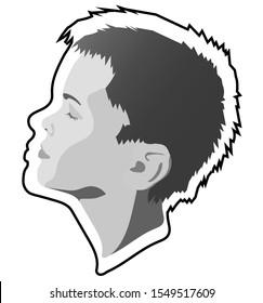 Portrait of a boy in profile in gray tones. Portrait of a boy in profile.