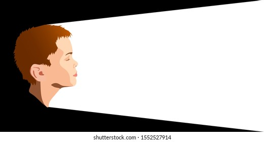 Portrait of a boy in profile on a contrasting background. Portrait of a boy in profile.