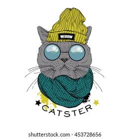 portrait of british shot hair cat hipster, hand drawn animal illustration