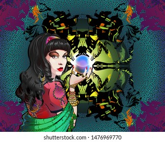 Portrait of a brunette fortuneteller in stole with a magic crystal ball in her hand. A woman is in a vintage oriental costume, abstract background with silhouettes of mystical characters.