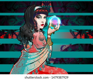 Portrait of a brunette fortuneteller in stole with a magic crystal ball in her hand.  A woman is in a vintage oriental costume, intricate abstract floral background.