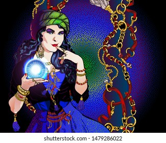 Portrait of a brunette fortuneteller in turban  with a magic crystal ball in her hand. On a woman a vintage suit, abstract background with chains, belts and rings.