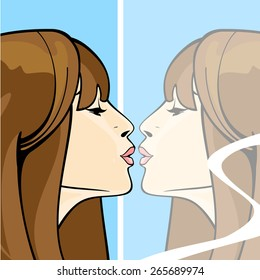 Portrait of a brunette girl kissing her own reflection in a mirror
