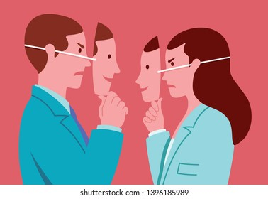 Portrait of business man and woman with smiling masks hiding real expressions of mutual hostility. Conceptual illustration representing hypocrisy in workplace