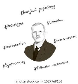 Portrait of Carl Gustav Jung. Key concepts in the form of hashtags. Hand drawn illustration. Vector.