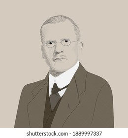 Portrait of Carl Gustav Jung. Swiss psychiatrist and educator. The founder of one of the areas of depth psychology - analytical psychology. Hand drawn illustration. Vector.