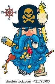 Portrait of cartoon pirate with big beard.
