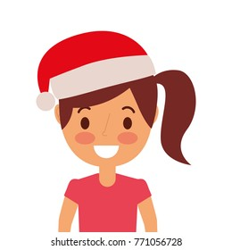 portrait cartoon woman smiling character wearing christmas hat