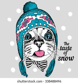 Portrait of a cat in blue winter hat with ear flaps. Vector illustration.