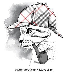 Portrait of a cat in checkered deerstalker with smoking pipe. Vector illustration.