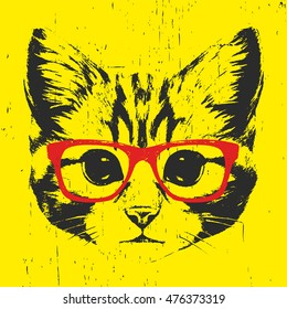 Portrait of Cat with glasses. Hand-drawn illustration. T-shirt design. Vector