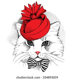 Portrait cat in a red Elegant woman's hat and with bow. Vector illustration.