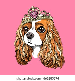 Portrait of the Cavalier King Charles Spaniel in a Princess crown on a pink background. Vector illustration.