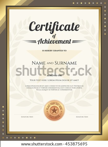 portrait certificate of achievement template with gold border and awarded wreath and star background - Certificate Of Accomplishment Template