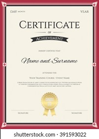 Portrait certificate of Achievement template in vector for graduation completion