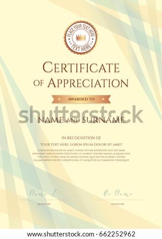 portrait certificate appreciation template award ribbon stock vector