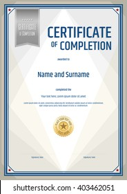 Portrait certificate of completion template in portrait