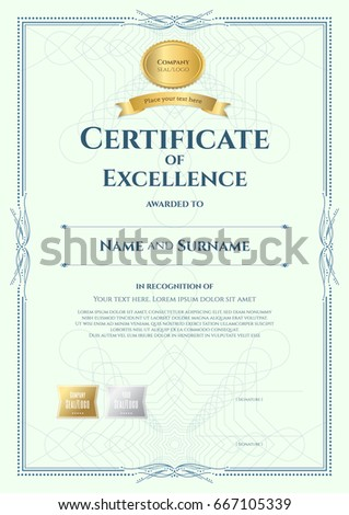 portrait certificate excellence template award ribbon stock vector