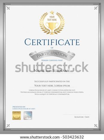 portrait certificate template achievement appreciation participation