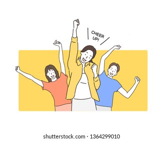 Portrait of cheerful people in basic clothing smiling and clenching fists like winners or happy people isolated over yellow background. Hand drawn style vector design illustrations.