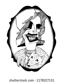 Portrait of a chic woman. Black and white illustration on a poster and on a T-shirt.